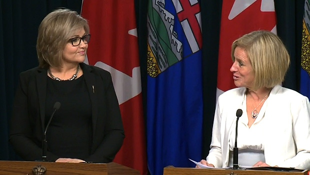 Calgary-North West MLA Sandra Jansen and Premier Rachel Notley at a news conference Thursday, November 17, 2016.