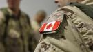 The Canadian flag is seen on the shoulder of a soldier waiting to board an Airbus CC-150 Polaris at CFB Trenton in Trenton, Ont., on Oct. 16, 2014. (The Canadian Press/Lars Hagberg)