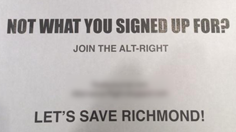 A racist flyer, a cropped version of which is seen here, was distributed in an area of Richmond, B.C. this month. (Facebook)