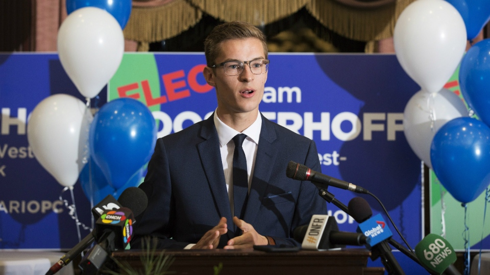 19-year-old Progressive Conservative candidate Sam Oosterhoff speaks to supporters after winning the byelection in Niagara-West Glanbrook, becoming Ontario's youngest-ever MPP on Thursday, November 17, 2016. (Aaron Lynett / THE CANADIAN PRESS)