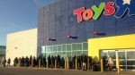 People lined up outside the Toys R Us store to buy Hatchimals on Friday, Nov. 18, 2016. (Allison Tanner / CTV Kitchener)