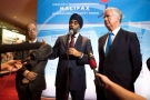 Canada's Defence Minister Harjit Sajjan, centre, speaks to reporters with UN Under-Secretary-General for Field Support Atul Khare, left, and United Kingdom Secretary of State for Defence Sir Michael Fallon during the Halifax International Security Forum, in Halifax, N.S., on Friday, November 18, 2016. (THE CANADIAN PRESS/Darren Calabrese)