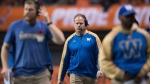 Winnipeg Blue Bombers' head coach Mike O'Shea, centre, walks on the sideline during second half western semifinal CFL football action against the B.C. Lions in Vancouver, B.C., on Sunday November 13, 2016. THE CANADIAN PRESS/Darryl Dyck