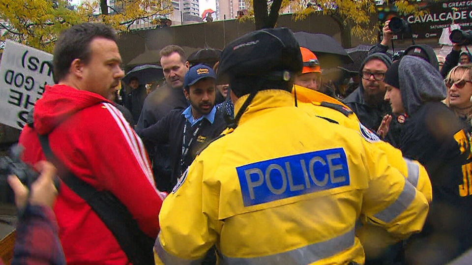 Protesters clashed outside Toronto City Hall on Saturday, Nov. 19, 2016 amid an anti-Donald Trump rally.