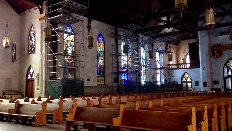 "Scaffolding was set up inside St. Paul's Cathedral in August of 2016 for repair and restoration work dubbed ""Project Jericho"".
