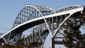 Blue Water Bridge, which connects the U.S.-Canada border, is seen in this file image.