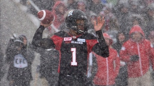 Ottawa Redblacks quarterback Henry Burris attempts a pass during first half CFL Eastern Final action against the Edmonton Eskimos, in Ottawa, on Sunday, Nov. 20, 2016. (THE CANADIAN PRESS/Adrian Wyld)