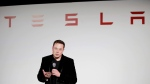 Elon Musk, CEO of Tesla Motors Inc., talks about the Model X car at the company's headquarters, in Fremont, Calif. on Sept. 29, 2015. (AP photo/Marcio Jose Sanchez)