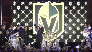 The Vegas Golden Knights team name is unveiled on Tuesday, Nov. 22, 2016 in Las Vegas.