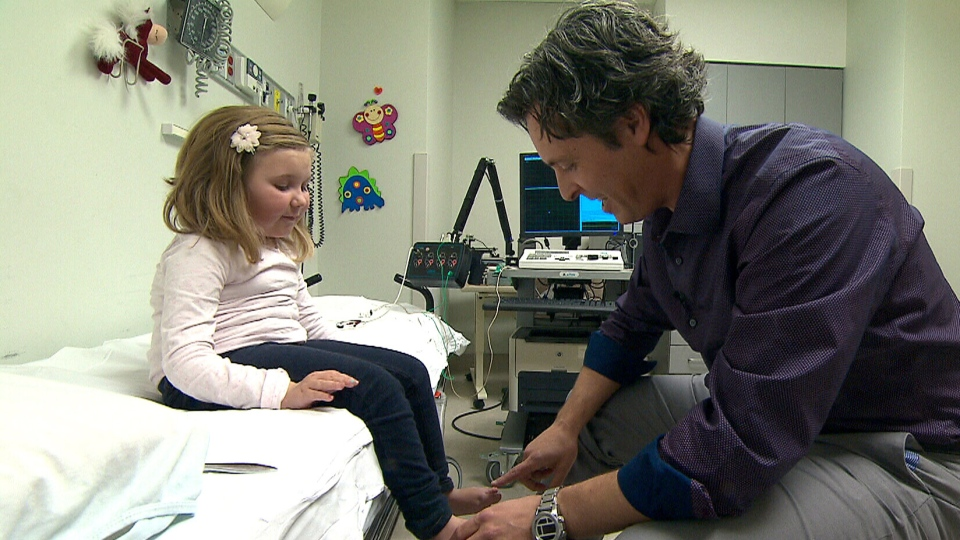 Sophie Blair, a child with spinal muscular atrophy, visits Dr. Craig Campbell, a paediatrician with the Children's Hospital at London Health Sciences Centre.