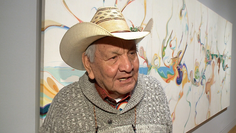 Renowned artist Alex Janvier at Natonal Gallery of Canada.
