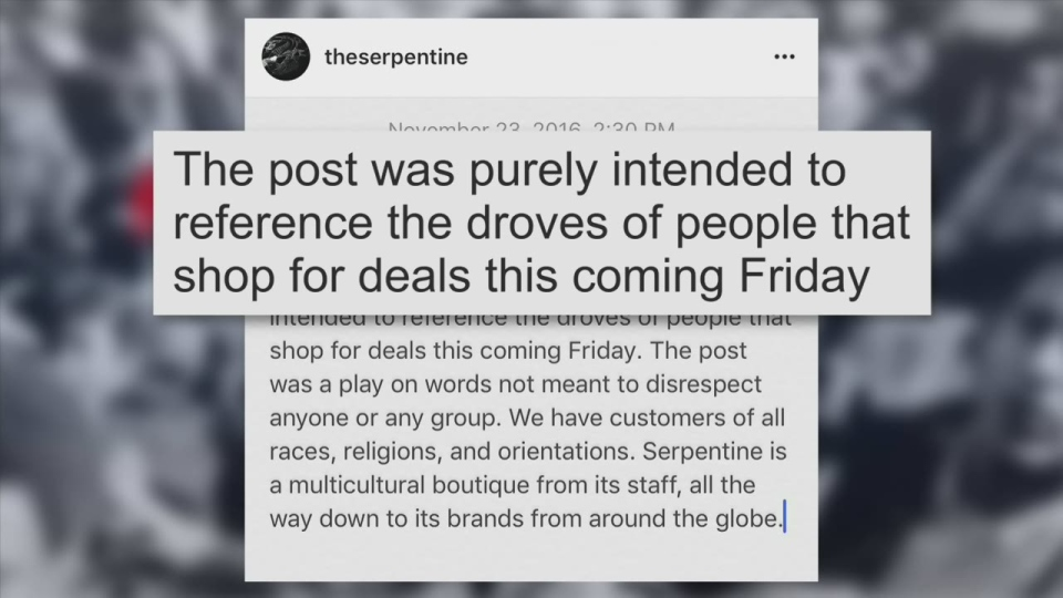 An online apology was posted to the Serpentine's Instagram account on Wednesday afternoon. (Instagram)