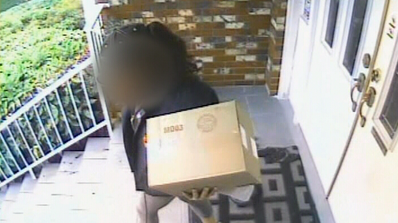A Canada Post worker was caught on camera appearing to snatch a FedEx package off the front stoop of a Coquitlam, B.C. home on Nov. 3, 2016. (CTV)