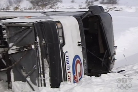 Police say this Coach Canada bus will undergo an inspection on Monday to determine if a mechanical problem played a role in the accident. (Feb. 21, 2009)