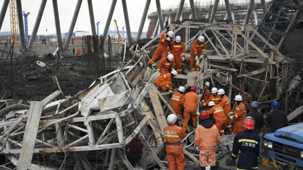Image result for At least 40 killed in east China scaffolding collapse