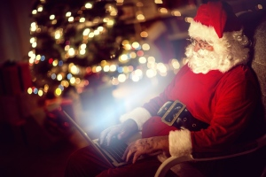 Santa Claus on a laptop