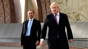 British Foreign Secretary Boris Johnson, right, visits the Pakistan monument with British High Commissioner to Pakistan Thomas Drew, in Islamabad, Pakistan, on Nov. 24, 2016. (B.K. Bangash / AP)