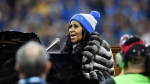 Aretha Franklin performs the national anthem before an NFL football game between the Detroit Lions and the Minnesota Vikings in Detroit on Thursday, Nov. 24, 2016. (AP / Jose Juarez)