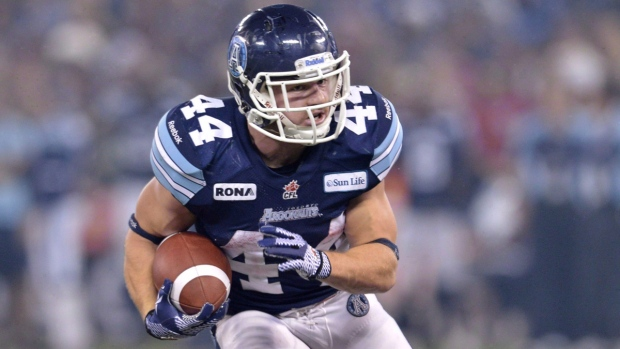 Toronto Argonauts running back Chad Kackert in Toronto on Nov. 25, 2012. (Nathan Denette / THE CANADIAN PRESS)