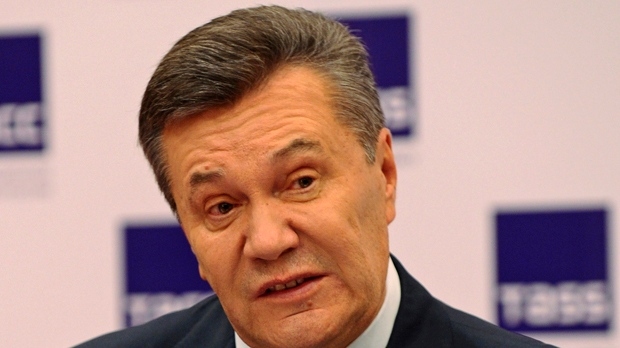 "Ukraine's ousted president Viktor Yanukovych speaks at a news conference in Rostov-on-Don, Russia, Friday, Nov. 25, 2016. Yanukovych told a televised news conference on Friday that he ""feels sorry for the lads who died,"" referring to the protesters who were shot by Berkut troops but wondered why the deaths of the police troops are not investigated. (AP Photo)"
