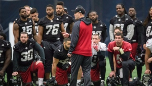 Ottawa Redblacks head coach Rick Campbell addresses the team during a practice, in Toronto on Friday November 25, 2016. The Redblacks will play against the Calgary Stampeders Sunday in the 104th CFL Grey Cup. (THE CANADIAN PRESS / Paul Chiasson)