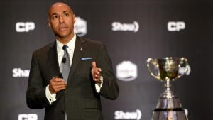 "CFL commissioner Jeffrey Orridge addresses guests during the annual ""state of the league"" speech, in Toronto on Friday, November 25, 2016. (THE CANADIAN PRESS / Ryan Remiorz)"
