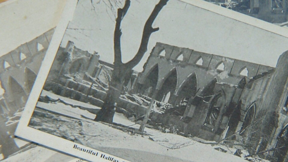 The remains of a Halifax church are seen in this image taken after the Halifax harbour explosion of 1917.