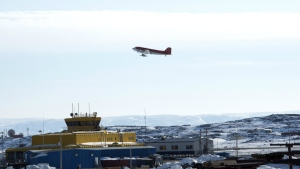 A Douglas DC3 takes off from the Iqaluit airport Saturday, April 25, 2015 in Iqaluit, Nunavut. THE CANADIAN PRESS/Paul Chiasson