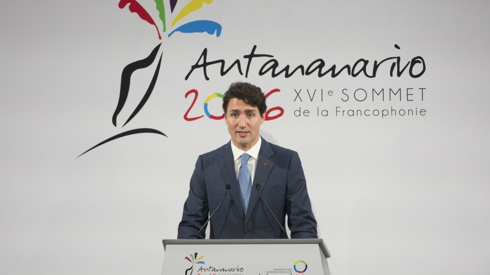 Canadian Prime Minister Justin Trudeau delivers a speech during the opening ceremonies at the Francophone Summit in Antananarivo, Madagascar Saturday November 26, 2016. THE CANADIAN PRESS/Adrian Wyld