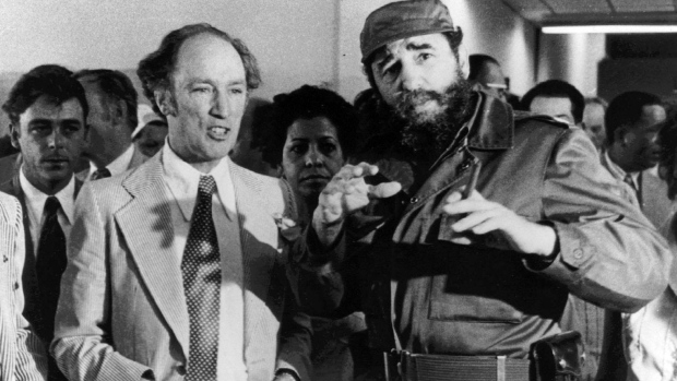 Prime Minister Pierre Trudeau looks on as Cuban President Fidel Castro gestures during a visit in Havana on Jan. 27, 1976. Prime Minister Justin Trudeau will retrace some of his father's most historic footsteps next week when he travels to Cuba and quite possibly meets an old family friend, retired Cuban leader Fidel Castro. THE CANADIAN PRESS/Fred Chartrand