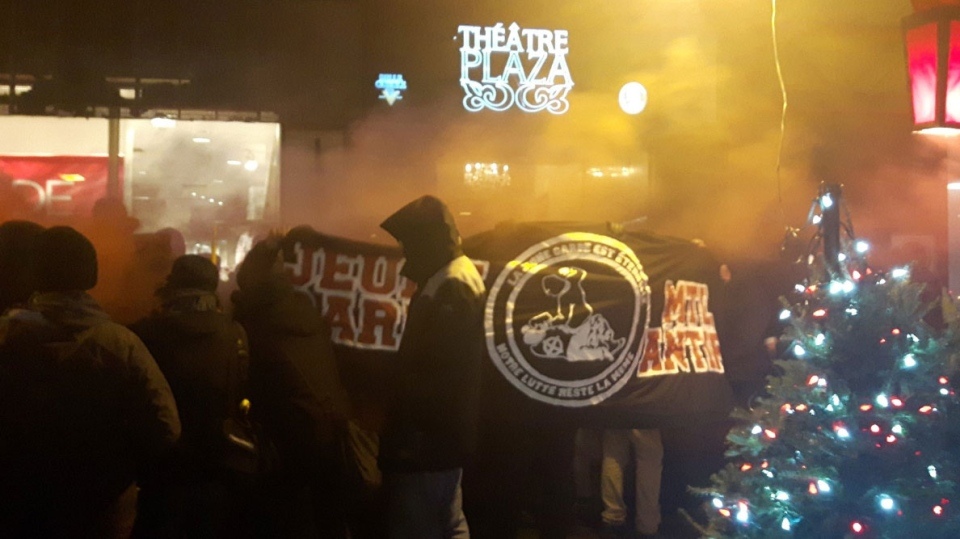Protesters congregate outside the Theatre Plaza, which was scheduled to host a concert by Graveland, a band with alleged ties to Neo-Nazism. (Photo via Twitter/@stimulator)