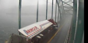 A truck tipped on its side on Seal Island Bridge (Kyle Moore)