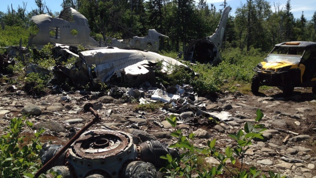 Wreckage of a Douglas DC-4 adorns the site of the deadly Belgian airline Sabena crash which occurred on Sept. 18, 1946, about 35 kilometres southwest of Gander, N.L., in this August 20, 2016. (THE CANADIAN PRESS/HO-Doug Kavanagh)