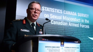General Jonathan Vance, Chief of the Defence Staff speaks as the Canadian Armed Forces addresses the findings of a Statistics Canada Survey on sexual misconduct in the Canadian Armed Forces during a news conference at National defence headquaters in Ottawa on Monday, Nov. 28, 2016. (Sean Kilpatrick / THE CANADIAN PRESS)