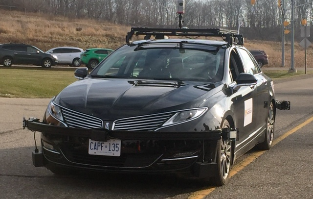 This Lincoln MKZ owned by the University of Waterloo's Centre for Automotive Research is one of the first three self-driving vehicles legally allowed to use Ontario's roads. (Victoria Levy / CTV Kitchener)