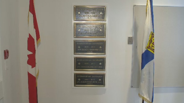 The five plaques in the Colchester-East Hants Public Library honour five soldiers that died in Afghanistan.