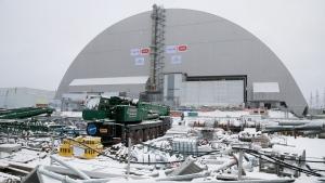 A view of the half-cylinder-shaped enclosure in Chornobyl, Ukraine, on Nov. 29, 2016. (Efrem Lukatsky / AP)