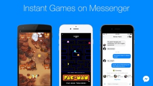 This image provided by Facebook shows a demonstration of Facebook's new option to play games with contacts on Facebook Messenger. Beginning Tuesday, Nov. 29, 2016, the feature can be accessed in the latest version of the messaging app by tapping a game controller icon. (Facebook via AP)
