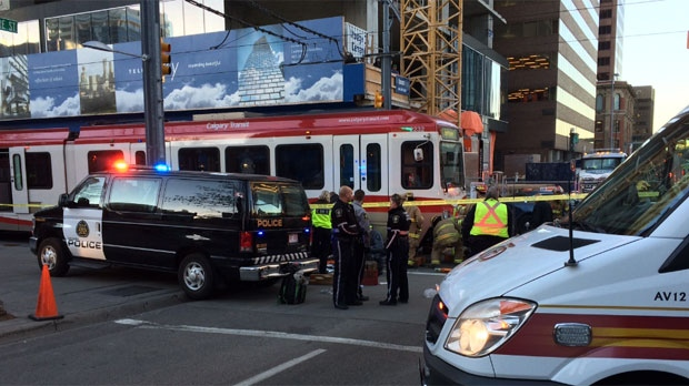 The man is in life-threatening condition after being struck by a CTrain in the downtown.