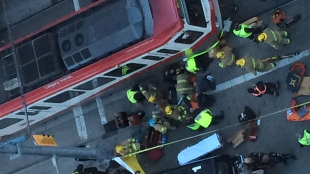 Crews spent nearly an hour getting the man out from under the train. (Courtesy: Rodney Tomko)