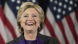 In this Nov. 9, 2016 file photo, Democratic presidential candidate Hillary Clinton speaks in New York, where she conceded her defeat to Republican Donald Trump after the hard-fought presidential election. (AP / Matt Rourke, File)