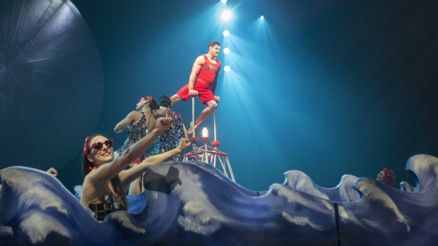 Performers are pictured on stage during a dress rehearsal for the Toronto opening of Cirque Du Soleil's latest creation 'Luzia' on Wednesday, July 27, 2016 THE CANADIAN PRESS/Chris Young.