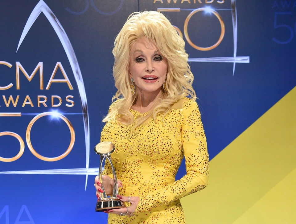 In this Nov. 2, 2016 file photo, Dolly Parton poses in the press room with the Willie Nelson Lifetime Achievement Award during the 50th annual CMA Awards in Nashville, Tenn. (Photo by Evan Agostini/Invision/AP, File)