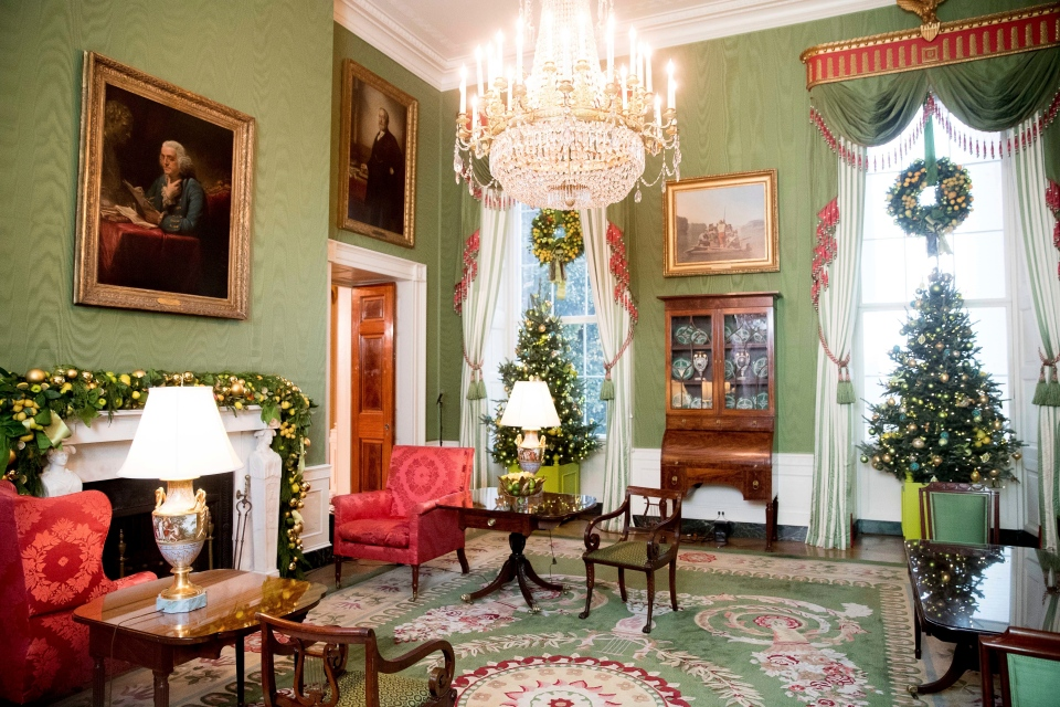 The Green Room is decorated at the White House during a preview of the 2016 holiday decor, Tuesday, Nov. 29, 2016, in Washington. (AP Photo/Andrew Harnik)