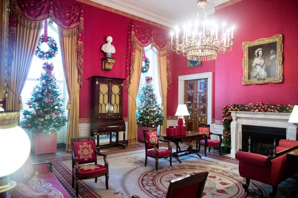 The Red Room is decorated at the White House during a preview of the 2016 holiday decor, Tuesday, Nov. 29, 2016, in Washington. (AP Photo/Andrew Harnik)