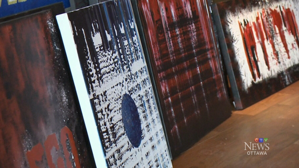 Ottawa police officer Jeff Simpson's artwork will be on display for the first time in the 10 years he's been painting on canvas.