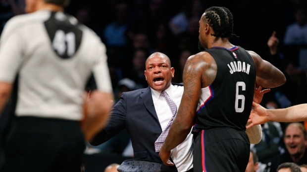 Los Angeles Clippers coach Doc Rivers, centre