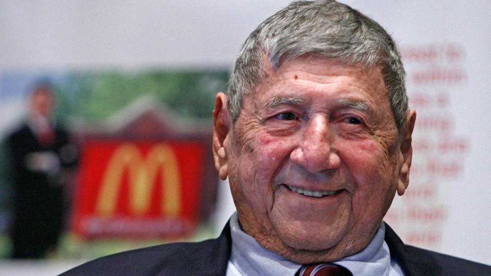 Big Mac creator Michael 'Jim' Delligatti in Canonsburg, Pa., on Aug. 21, 2008. (Gene J. Puskar / AP)