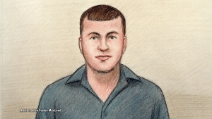 Artist's sketch of 22-year old Cameron Rogers as he appeared in court via video on Wednesday, Nov. 30, 2016. Rogers was charged with first-degree murder in the deaths of his parents Dave and Merrill Rogers .(Artist: Laurie Foster-MacLeod)