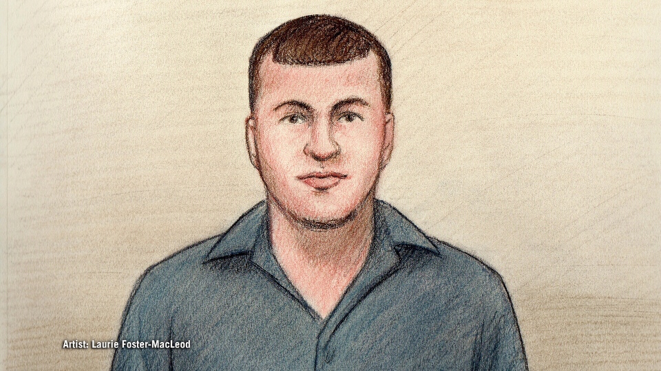 Court sketch of Cameron Rogers.